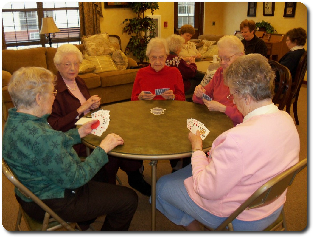 Residents enjoying a game of cards