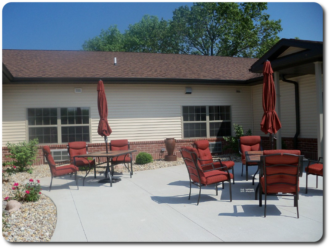 Outdoor patio, residents enjoy sitting & visiting when the weather is nice.